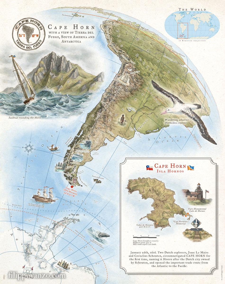 Cape Horn map - Filippo Vanzo | Illustrator & Cartographer